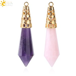 Wholesale quartz faceted for sale - Group buy CSJA New Arrival Jewellery Gold Color Faceted Natural Stone Pendulum Hexagon Suspension Crystal Quartz Charms Pendant for Necklace F401