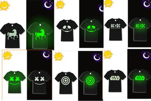 110-150cm glow in the dark kids sunlight children T-shirt boys black in moon light, short christmas gift usa dance party school 4-13 years