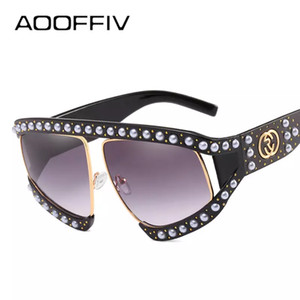 Wholesale AOOFFIV Oversized Pearl Half Frame Sunglasses Women Brand Designer Elegant Ladies Sun Glasses For Female Clear Gradient Shades