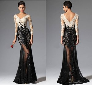 Wholesale Cheap Modest Mermaid Evening Dresses Formal Dresses V Neckline Black And White Lace Prom Dresses Sexy Beaded Pageant Gowns