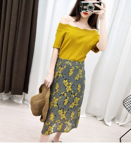 Wholesale Summer set of women fashion two sets new type of shoulder ice silk knitted blouse lace Hoodie skirt