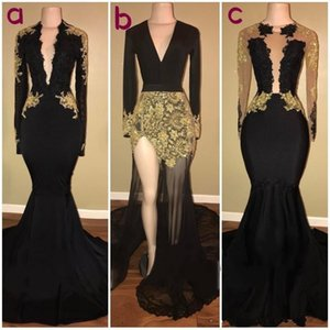2019 New Black Prom Dresses Black And Gold Long Sleeve Formal Party Dress Mermaid Evening Gowns Real Photos vestidos de novia on Sale