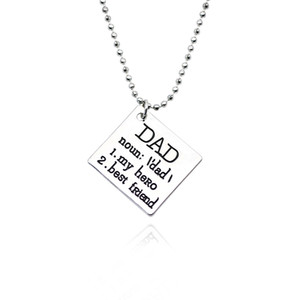 Wholesale Trendy Square Pendants Printing Dad My Hero My Friend Vintage Charm Necklaces Stainless Steel Chain Pendants Necklaces Drop Ship