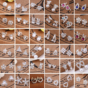 Hot sell 45 styles creative ear studs fashion snowflake beer crystal rhinestone pearl ear studs new pearl earrings