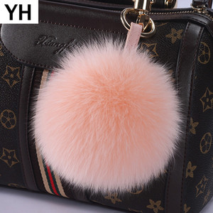 Fashion 15cm Big Size Real Fur Ball Keychain Fur Pompons Car Key Chains Real Pom Poms Keyring For Charm Bag Pendant