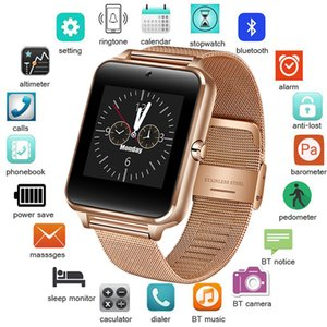 Wholesale 2018 New Stainless Steel Bluetooth Smart Watch Women Men Sport Waterproof SmartWatch LED Color Touch Screen Watch Support SIM TF