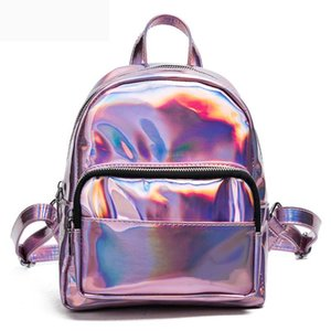 2018 New women hologram backpack laser daypacks girl school bag female silver pu leather holographic bags big medium small size
