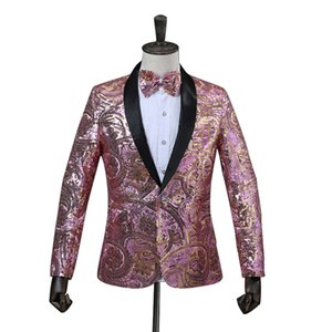 Wholesale Mens Pink Gold Flower Sequins Fancy Paillette Wedding Singer Stage Performance Suit Jacket Annual DJ Blazer with Bow Tie