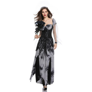 Wholesale New high quality Halloween Ghost Festival Cosplay Female Adult Sexy Ghost Bride Black Long Dress Devil Stage Performance Co