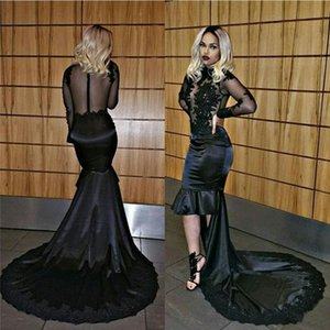 Wholesale 2018 Black High Low Mermaid Evening Dresses Wear Jewel Neck Lace Appliques Beads Illusion Sheer Back Long Sleeves Ruffles Prom Party Gowns