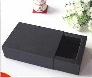 Wholesale Joy outside size CM Blank black card paper drawer box for soap packaging luxury gift box
