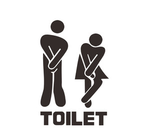 Wholesale Toilet Seat Entrance Sign Wall Sticker Vinyl Art Removable Bathroom Decals Decor
