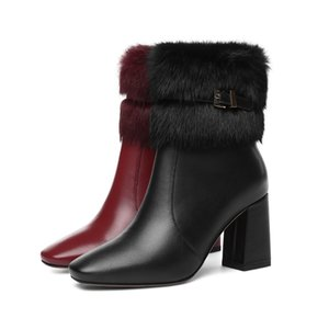 Wholesale Fashion high quality leather winter women boots square thick high heels black red beautiful plush decorative boots women