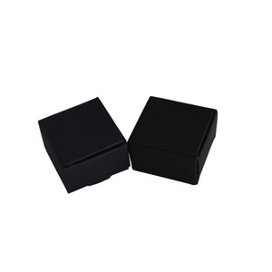 4*4*2.5cm 50Pcs Lot Small Black Handmade Soap Storage Boxes Kraft Paper Jewelry Packaging Box Blank Wedding Gift Box For Party DIY Craft