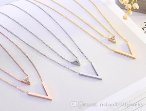 Wholesale 2017Wholesale New arrival fanshion V shaped with diamond necklace titanium steel rose gold pendant women jewelry birthday gift