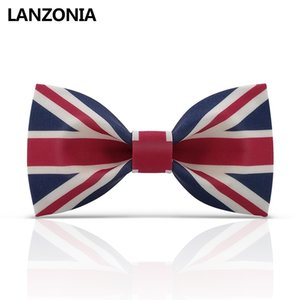 Wholesale Lanzonia Fashion Union Jack Flag Patterned Bow Tie For Men Britain Print Unique Bowtie Women Fashion Novelty Neckwear