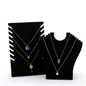 Jewelry Necklace Chain Display Stand Cardboard Black Velvet Elegant Foldable Jewellery Displays for Shop Shelf Boutique Kiosk Crafts Market