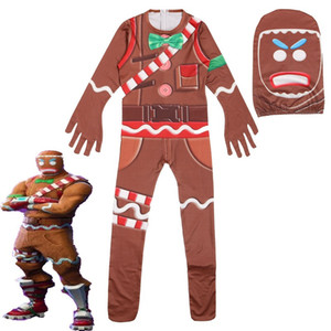 Wholesale Gingerbread Man Skin Decoration Character Clown Boys Cosplay Clothes Halloween Costume Battle Royale Party Funny Kid Clothing