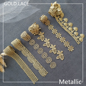 Wholesale Sale by Yard Golden metallic thread flower high quality embroidery Lace Fabric Sewing costumes DIY Lace Trim JB01