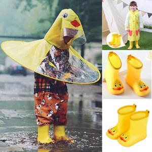 Wholesale Cute RainBoots Infant Kids Baby Boy Girl PVC Cartoon Soft Duck Anti slip Rubber Waterproof Warm Rain Shoes T