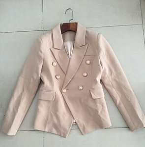 Wholesale New with Label Brand B Top Quality Original Design Women s Double Breasted Khaki Slim Jacket Metal Buckles Blazer Suit Outwear Size S XL