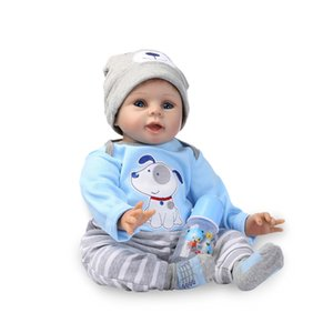 Wholesale Nicery inch cm Bebe Soft Silicone Boy Girl Toy Reborn Baby Doll Gift for Children Blue Dog Bady Doll