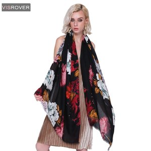 VISROVER Free Shipping 2018 Women Brand Fashion Floral Shawl Scarf Print Soft Wrap  Muslim Hijab Scarf Beach Dress