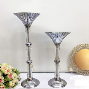 Wholesale metal stands for flowers for sale - Group buy Gold Silver Vase Crystal Floor Flower Vases Metal Mariage Road Lead Wedding Centerpieces For Party Stands Home Decoration