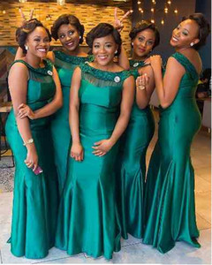 Wholesale scoop back bridesmaid dresses resale online - 2018 Hunter Green Mermaid Bridesmaid Dresses Scoop Neck Illusion Zipper Back Plears African Plus Size Long Wedding Guest Maid of Honor Gowns