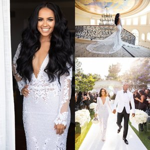 Wholesale African Full Lace Wedding Dress Sexy Mermaid Deep V Neck Backless Bridal Gowns With Super Long Sleeves Robe de soriee