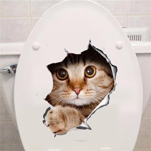 Wholesale New Fashion Hole View Vivid Cats Dog D Wall Sticker Bathroom Toilet Living Room Kitchen Decoration Animal Vinyl Decals Art Sticker