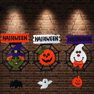 Wholesale Halloween Decoration Ghost Pendant Light Door Hanging Non woven Pumpkin Lamp Spider Web Witch Listing Party Supplies
