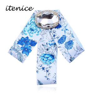 New Bow Crystal Korean Women Brooches Pins Canvas Fabric Bowknot Tie Necktie Corsage Brooch For Women Clothing Dress Jeweley