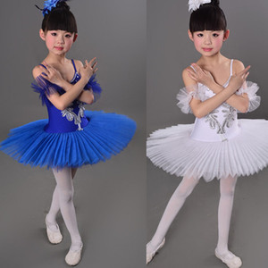 Wholesale White Children s Ballet Tutu dance Dress costumes Swan Lake Ballet Costumes Kids Girls Stage wear Ballroom dancing Dress Outfits
