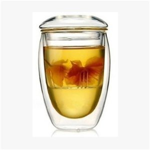 Wholesale Tea Cup Heat Resistant Double Layer Glass Tumber Crystal Clear Borosilicate With Infuser Lid Water Mug hj KK