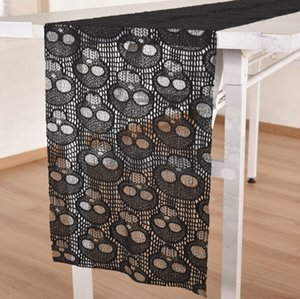 Wholesale Black Lace Tablecloth Halloween Skull Lace Table Runner Halloween Table Decoration Event Party Supplies Home textile