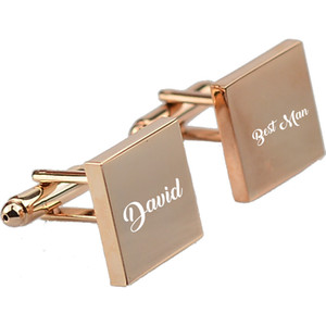Wholesale Customized Wedding Anniversary Cufflinks Laser Engraved Name Record Classic Personalized Cuff links for Men gift box packing