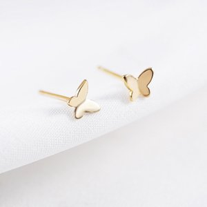 Wholesale Pure Sterling Silver K Yelllow Rose White Gold Plated Cute Mini Small Butterfly Piercing Stud Earrings for Women Kids