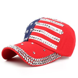 Wholesale Genbitty High Quality Spring And Summer Star Pattern Baseball Cap Rivet Printed Women Men American Flag Snapback Hip Hop Hats
