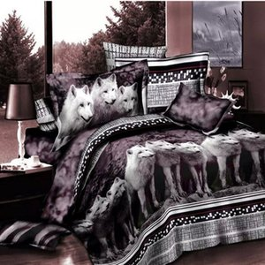 Wholesale Wolf Bedding Set Queen Size D Print Brown Color Wolves Animal Duvet Cover Bedspreads Beddings