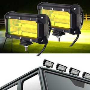 Wholesale 2Pcs quot W Yellow LED Work Light Bar Flood Driving Fog Lamp Offroad Truck SUV