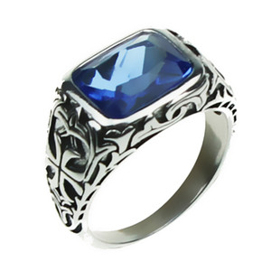 Wholesale mens sterling silver stone rings resale online - Real Pure Sterling Silver Rings For Men Blue Natural Crystal Stone Mens Ring Vintage Hollow Engraved Flower Fine Jewelry Y1891205