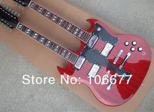 Wholesale New Arrival High Quality Strings Double Neck Custom Guitar SG Wine RED Electric Guitar In Stock