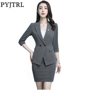 Wholesale PYJTRL Office Ladies Summer Black Gray Blue Work Clothes EleWomen Jacket Skirt Suits Two Piece Set Female Business Uniforms