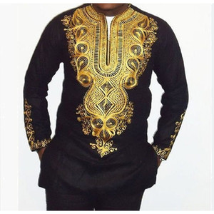 Wholesale New African clothing African dashiki style national wind printing V neck long sleeve men s T shirt Plus size