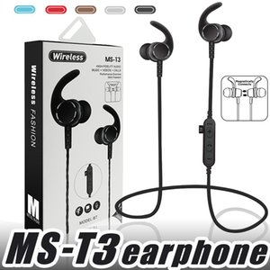 Wholesale MS T3 Bluetooth Headphones Sweatproof Sports Running Earphone Wireless Headset TF Card Magnetic attraction Earbuds for xiaomi iphone samsung