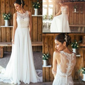 Wholesale 2018 Modest Lace Chiffon Flowy Beach Wedding Dresses with Sash Jewel Sheer Back Full length Outdoor Country Farm Bridal Reception Dress