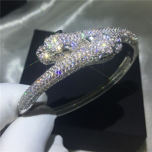 Handmade Leopard Shape Bangle Pave setting 380pcs Diamond Silver color bracelet bangles for women wedding accessaries