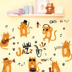 Wholesale SHIJUEHEZI Orange JAZZ Cats Wall Stickers PVC Material DIY Animal Wall Decals for Kids Room Nursery School Decoration