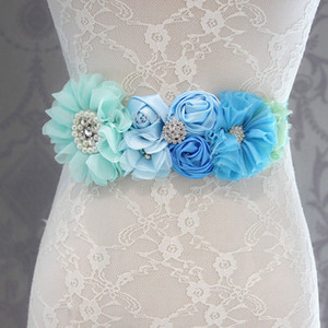 Wholesale Fashion Blue flower Belt Girl Woman Sash Belt Wedding Sashes belt with flower headband SET